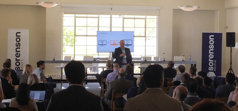 Matt Timothy, Sorenson Media CCO, presents during Insights Track at TVOT Show